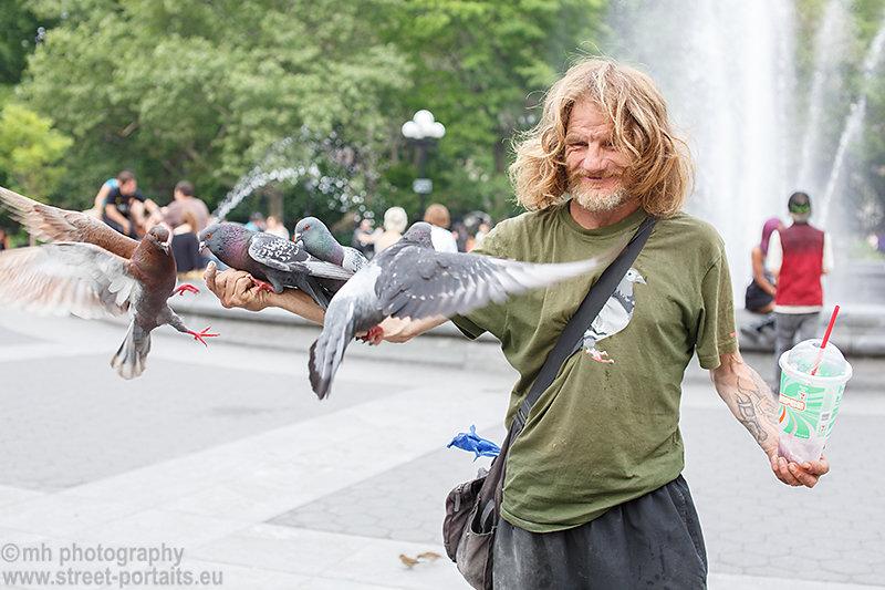 larry the pigeon guy - washington square park nyc
